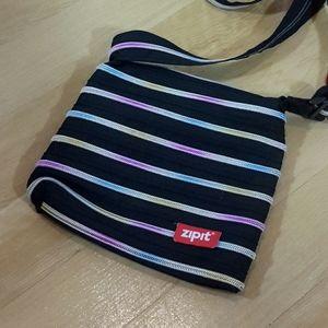 ZIPIT | Black Multicolor Zipper Crossbody Bag!